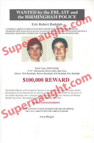 Eric Rudolph Original Full Color FBI Wanted Poster - Supernaught True Crime Collectibles