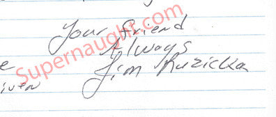 James Ruzicka 1999 letter signed Jim Ruzicka - Supernaught True Crime Collectibles