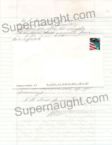 Marc Sappington two page letter and envelope both signed - Supernaught True Crime Collectibles