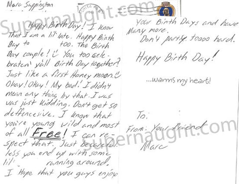 Marc Sappington Birthday Card and envelope set both signed - Supernaught True Crime Collectibles