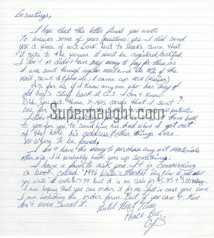 Christopher Scarver Murdered Jeffrey Dahmer Letter Signed