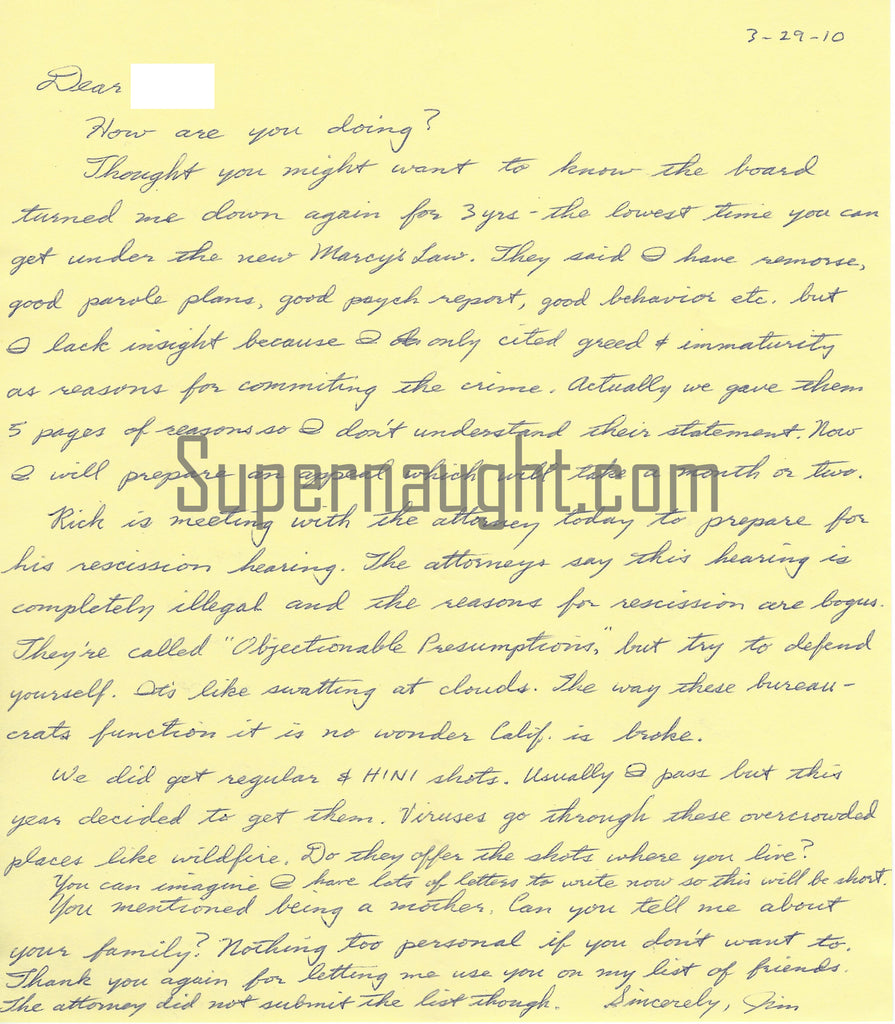 James Schoenfeld Letter Signed with Envelope Set