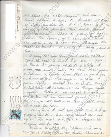 Sister Clemmie Schroeder letter and envelope both signed - Supernaught True Crime Collectibles