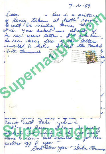 Sister Clemmie Schroeder letter and envelope both signed Henry Lee Lucas - Supernaught True Crime Collectibles