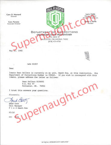 Sean Sellers letter from Oklahoma DOC unit manager - Supernaught True Crime Collectibles - 1