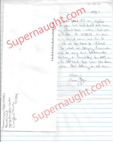 Tommy Lynn Sells Christmas 2010 letter and envelope set both signed - Supernaught True Crime Collectibles