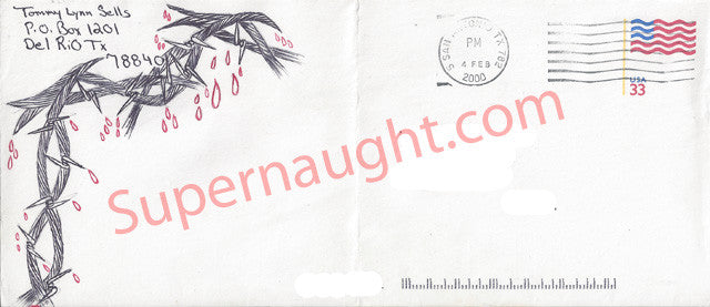 Tommy Lynn Sells county jail envelope with artwork signed in full - Supernaught True Crime Collectibles