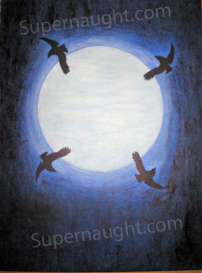 Tommy Lynn Sells Crows Against a Moonlit Midnight Sky Painting Signed - Supernaught True Crime Collectibles - 1