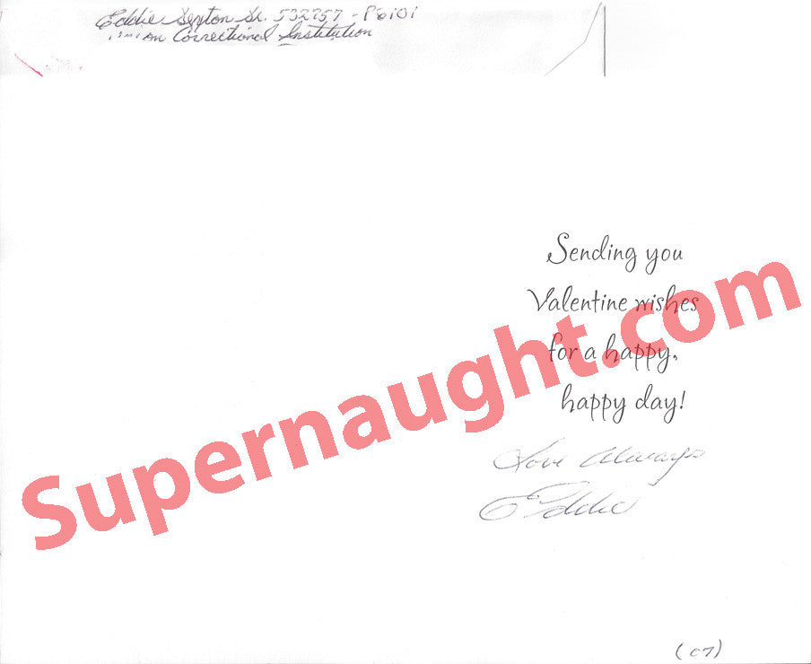 Eddie Lee Sexton Valentine card and envelope both signed - Supernaught True Crime Collectibles