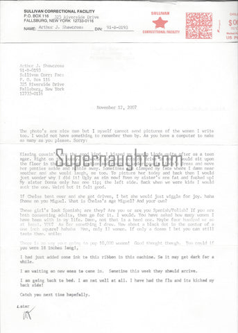 Arthur Shawcross Signed Prison Letter Serial Killer True Crime Gallery