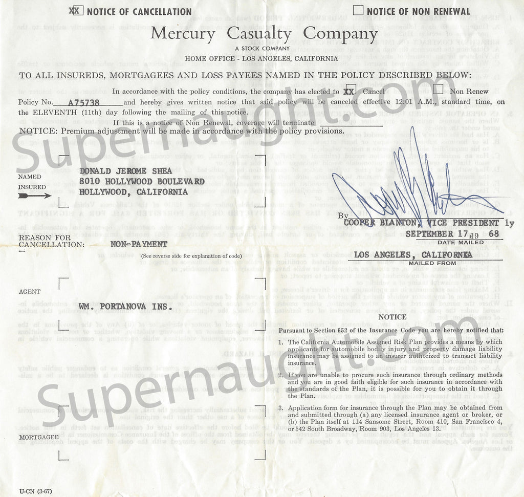 Donald Shorty Shea Notice of Cancellation Sept 1968 - Supernaught True Crime Collectibles - 1