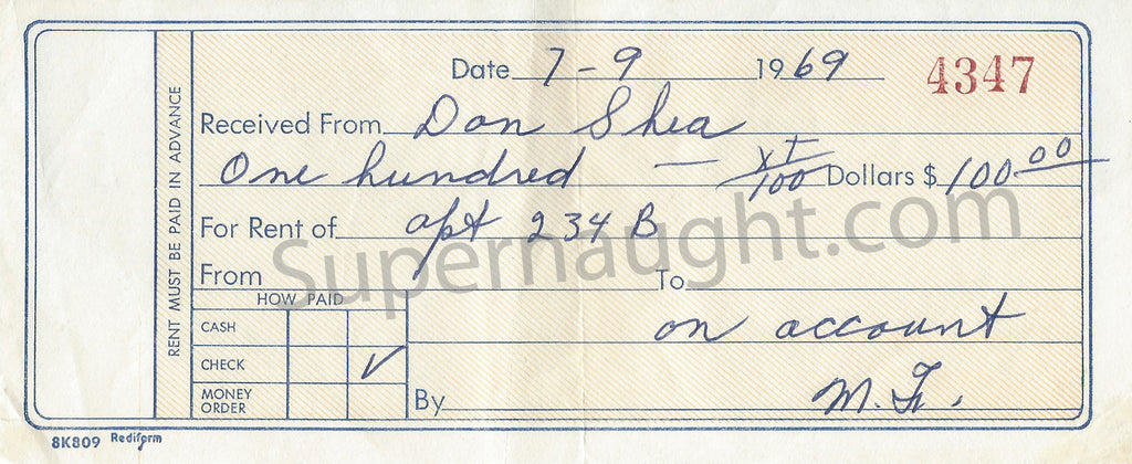 Donald Shorty Shea Paid Rent Receipt July 1969 - Supernaught True Crime Collectibles
