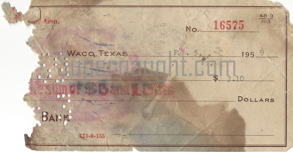 Donald 'Shorty' Shea February 1959 Partial Cancelled Check