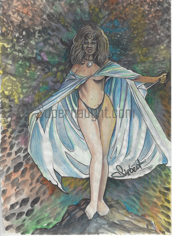 Daniel Siebert Female Watercolor Painting Signed