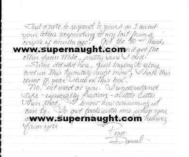 Daniel Siebert letter from death row signed - Supernaught True Crime Collectibles