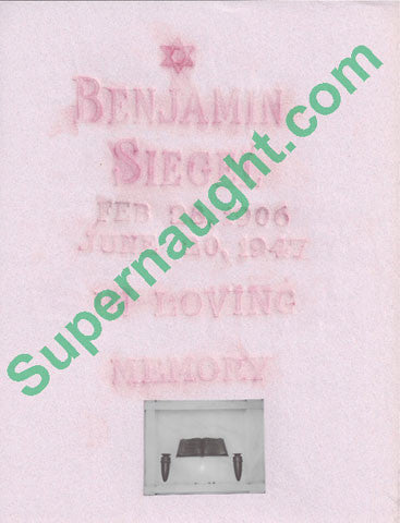 Benjamin Bugsy Siegel Original Grave Rubbing - Supernaught True Crime Collectibles