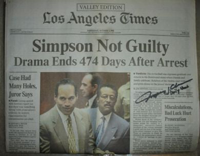 OJ Simpson LA Times newspaper signed by photographer Myung J Chun - Supernaught True Crime Collectibles