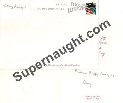 Gary Sinegal Christmas card and envelope both signed - Supernaught True Crime Collectibles