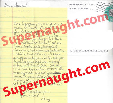 Gary Sinegal two page letter and prison envelope both signed - Supernaught True Crime Collectibles