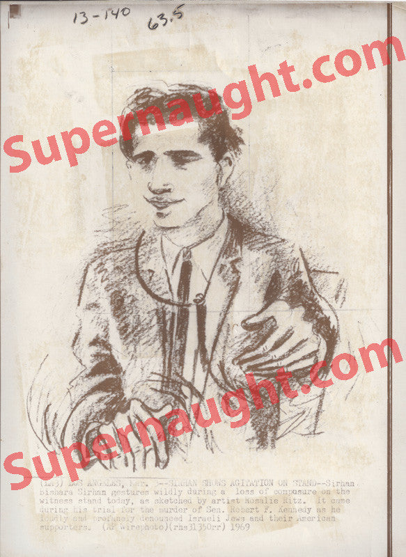 Sirhan Sirhan original AP photo March 1969 - Supernaught True Crime Collectibles - 1