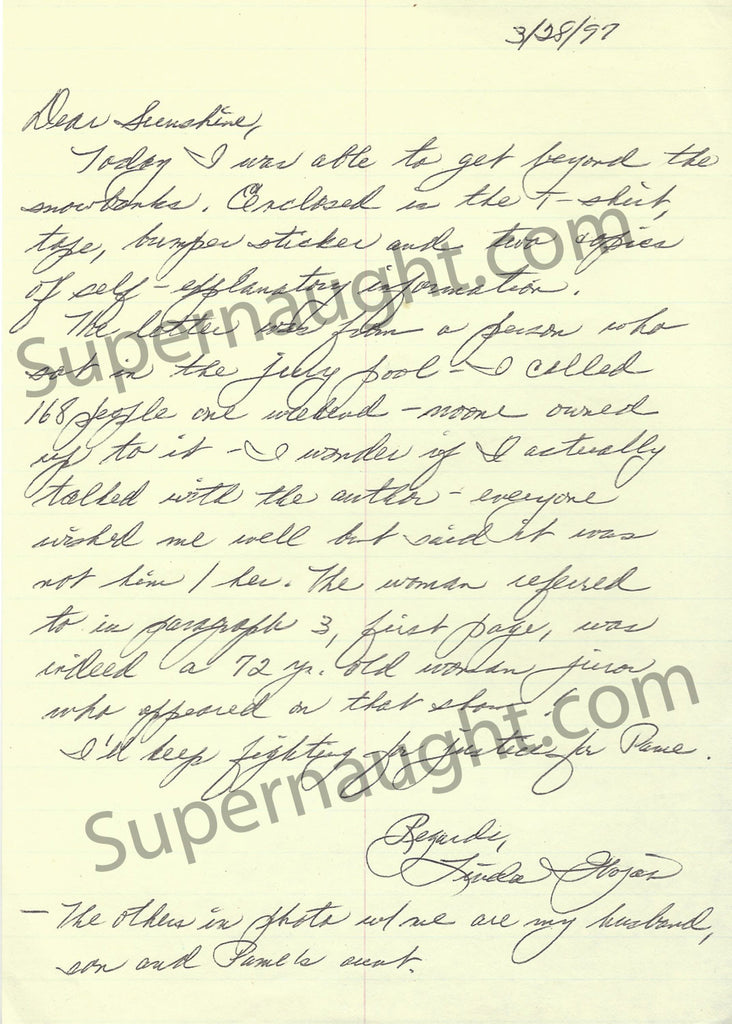 Pamela Smart Signed Letter from Her Mother Linda Wojas - Supernaught True Crime Collectibles