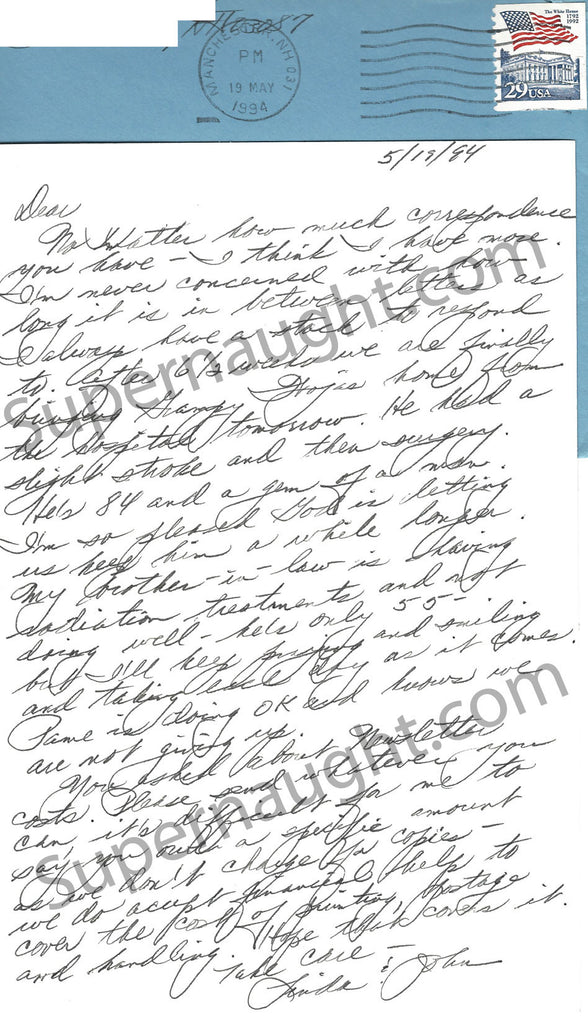 Pamela Smart Signed Card and Envelope from Her Mother Linda Wojas - Supernaught True Crime Collectibles