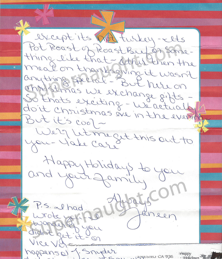 Janeen Snyder Three Page Letter and Envelope Set Both Signed