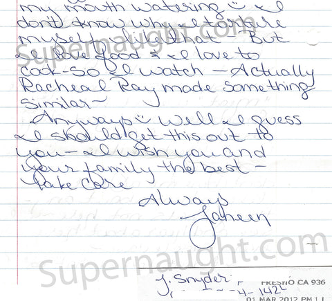 Janeen Snyder signed letter from prison
