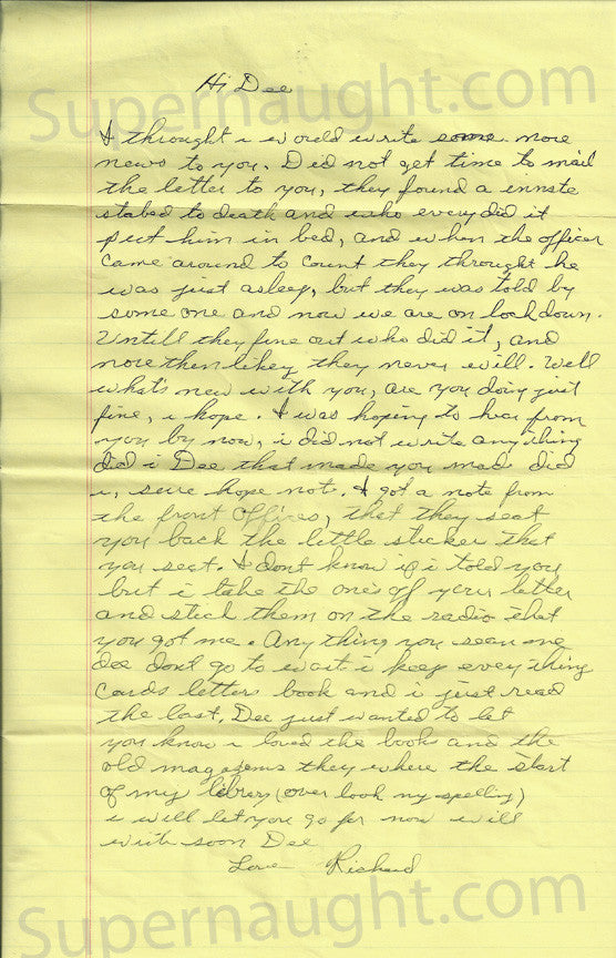Richard Speck prison letter signed Love Richard - Supernaught True Crime Collectibles