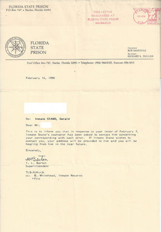 Prison response to 1990 inquiry regarding Gerald Stano - Supernaught True Crime Collectibles