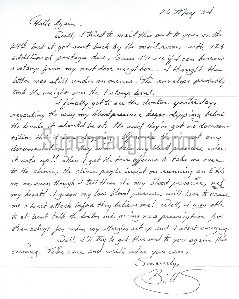 William Bill Suff Signed Death Row Letter Serial Killer
