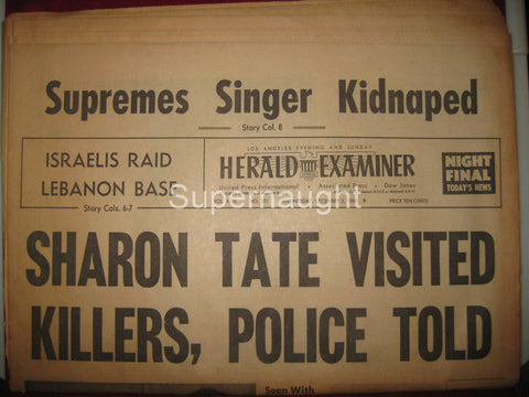 Herald Examiner December 1969 Sharon Tate Visited Killers Newspaper - Supernaught True Crime Collectibles