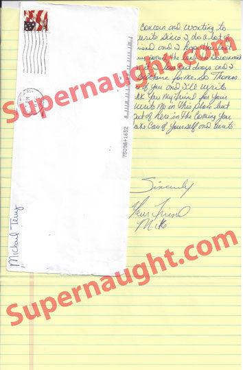 Michael Terry letter and envelope both signed - Supernaught True Crime Collectibles