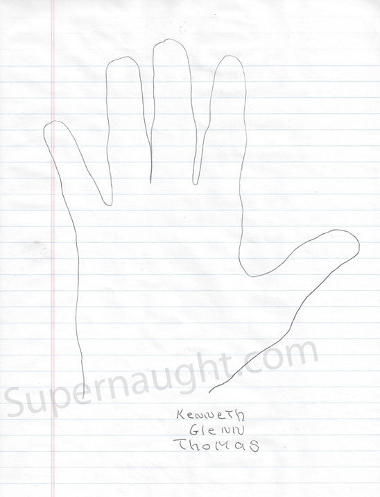Kenneth Glenn Thomas hand tracing signed - Supernaught True Crime Collectibles