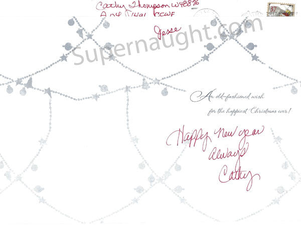 Catherine Thompson Christmas card and envelope set both signed - Supernaught True Crime Collectibles