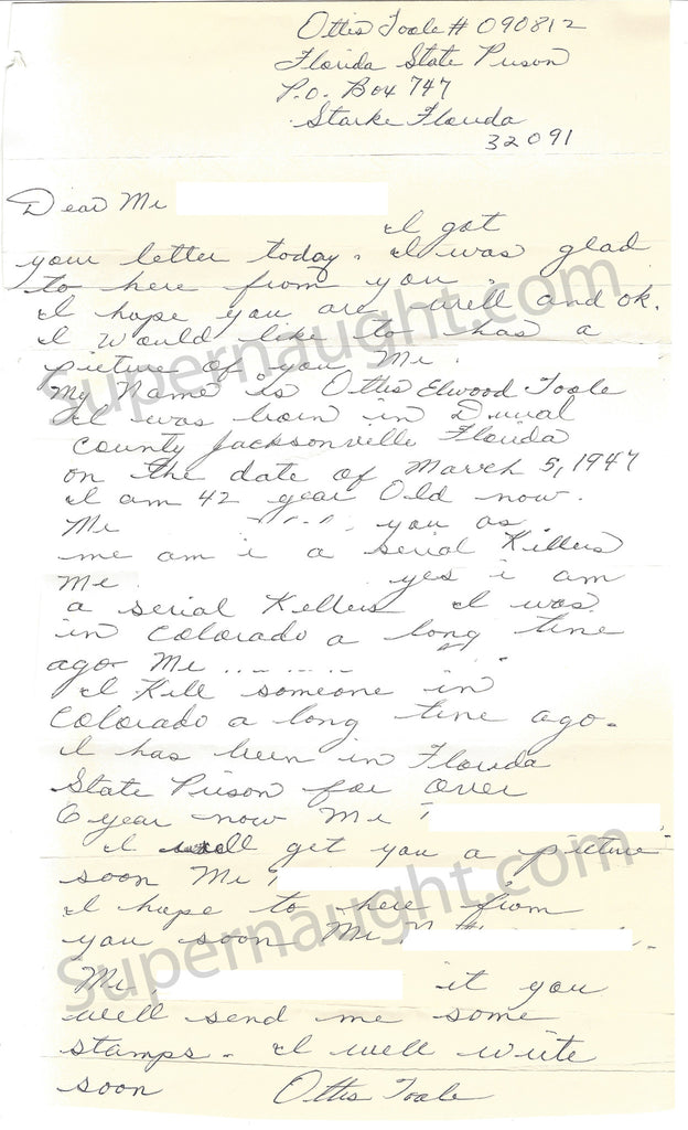 Ottis Toole Signed I Am A Serial Killer Letter and Envelope Set