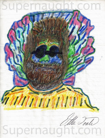 Ottis Toole Jerry Garcia drawing signed Ottis Toole - Supernaught True Crime Collectibles