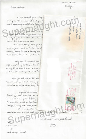 Ottis Toole Letter and Envelope Penned by Gerard Schaefer - Supernaught True Crime Collectibles