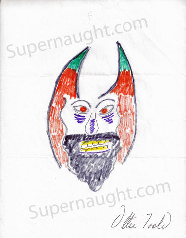 Ottis Toole Devil Drawing Signed Ottis Toole - Supernaught True Crime Collectibles