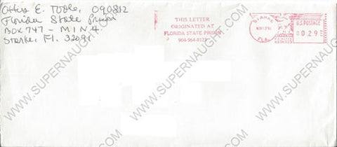 Ottis Toole prison stamped envelope by Gerard Schaefer - Supernaught True Crime Collectibles