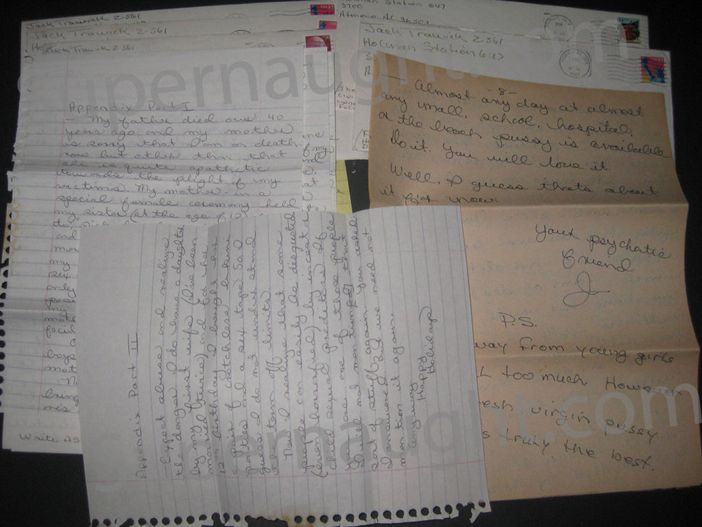 Jack Trawick five letters and envelopes all signed lot 2 - Supernaught True Crime Collectibles