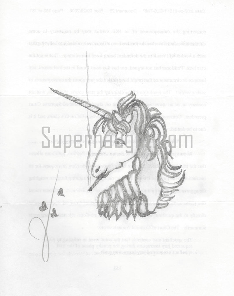 Jack Trawick unicorn drawing signed