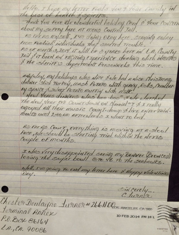 Chester Turner Signed County Jail Letter Los Angeles Serial Killer