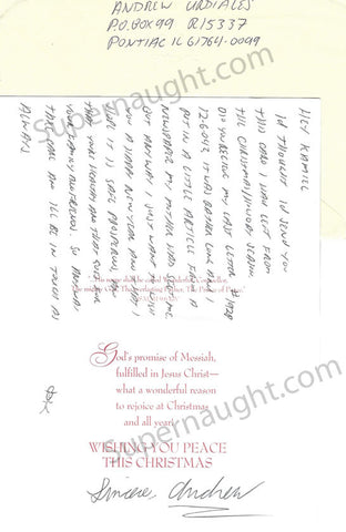 Andrew Urdiales Christmas Card and Envelope Set Both Signed - Supernaught True Crime Collectibles - 1