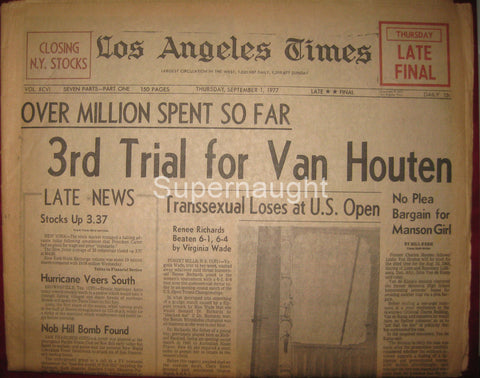 Los Angeles Times September 1977 3rd Trial for Van Houten - Supernaught True Crime Collectibles