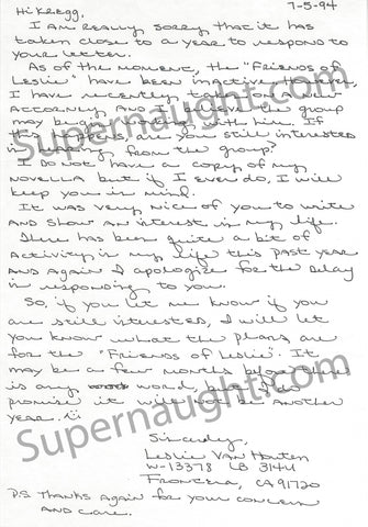 Leslie Van Houten One Page Handwritten Letter Signed in Full - Supernaught True Crime Collectibles