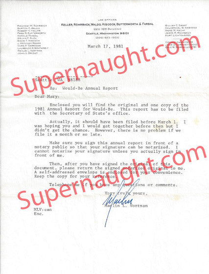 Marlin Vortman Ted Bundy 1981 attorney letter signed - Supernaught True Crime Collectibles