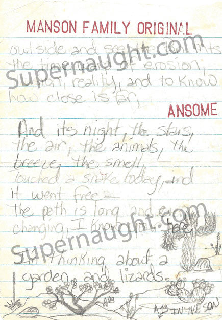 Lori Walleman aka Ansom 13 Manson Family poem and artwork signed - Supernaught True Crime Collectibles