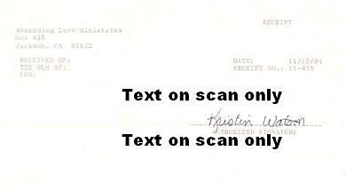 Kristin Watson Abounding Love Ministries receipt signed - Supernaught True Crime Collectibles