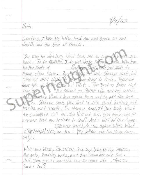Coral Watts Three Page Letter with Drawing Signed Twice - Supernaught True Crime Collectibles - 1